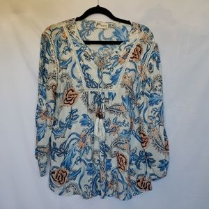 Magazine Cream & Blue Paisley Peasant Top Large
